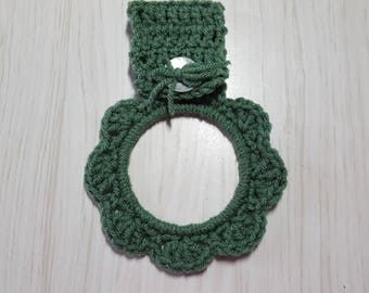 Towel Holder Crocheted Ring Sage Green