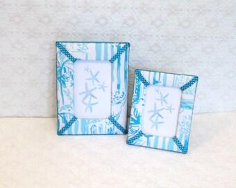 Lilly Pulitzer La Via Loca Toile Fabric Picture Frame 4x6 or 3x5