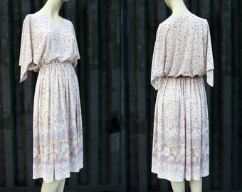 Toni Todd Pastel Color Vintage Flutter Sleeve Elastic Waist Below the Knee Lightweight Woman's Retro Dress