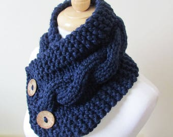 "Chunky Cable Neckwarmer Knit Thick Navy Blue Scarf Wool Blend 6"" x 25"" Coconut Shell Buttons - Ready to Ship - Direct Checkout"