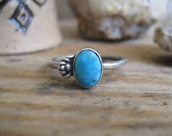 Turquoise Succulent Ring, Garden Ring, Gift for Her, Sterling Silver Ring, Floral Ring