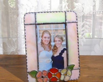 Orange Flowers 4 x 6 Picture Frame Stained Glass Frame Portrait Frame Glass Picture Frame 4 x 6 Photo Frame Ombre Orange Frame Spring Frame
