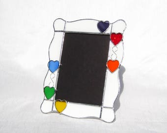 Lots of Love Picture Frame 5 x 7 Stained Glass Frame Valentine Frame Portrait Frame Baby's Frame 5 x 7 Heart Frame Rainbow Picture Frame