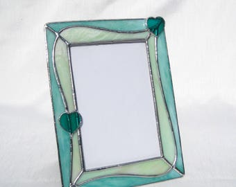 2 Hearts 'n Aqua Swirls 5 x 7 Stained Glass Picture Frame Baby Frame Aqua Frame Portrait Frame Aqua Glass Frame Valentine's Day Glass Frame