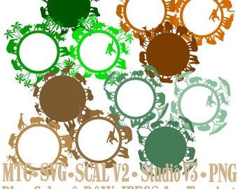 African Safari Zoo Animal Circle Digital Designs Cut Files MTC & SVG Format - Set of 12
