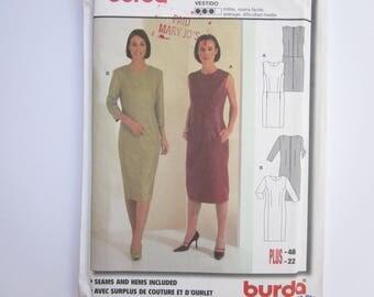 Burda Sewing Pattern 8864, Misses Fitted Dress, Sizes 10, 12, 14, 16, 18, 20, 22, Uncut