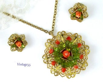 Necklace Coral Rose Peridot Pierced Post