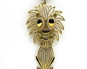 Lion Pendant Necklace Articulated Gold tone Vintage