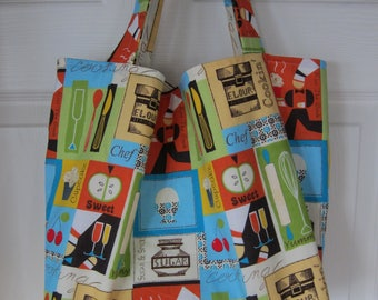 Market Bag, Kiss the Cook, Foodie, Subway Bag, Grocery Bag, 100s Fabric Choices