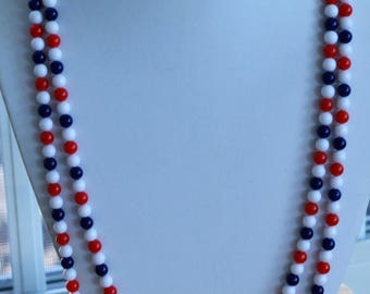 """Red, White, Blue 6mm Plastic Beaded Necklace, Vintage, 54"""" (AO5)"""