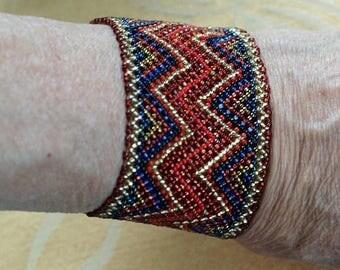 ON SALE Red, Blue, Gold Woven Seed Bead Bracelet, Boho, Southwest, Vintage (AB15)