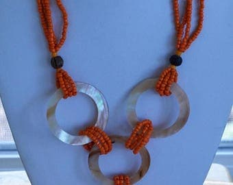 """ON SALE Mother of Pearl Shell, Orange Glass Seed Bead Multi Strand Necklace, Vintage, 18"""""""
