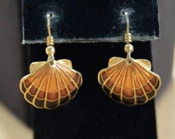 ON SALE Cloisonne Shell Pierced Earrings, Brown, Gold, Vintage (AC9)