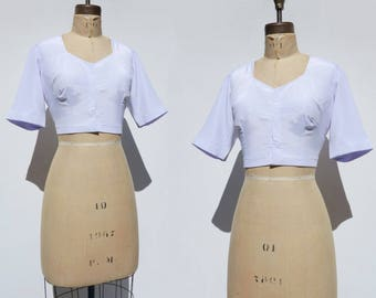 90s White Crop Top Vintage Corset Top Sari Top White Choli Indian Sari Top Bare Midriff Top Cropped Blouse White Bra Top Summer Crop Top m