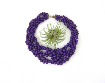Vintage Purple Necklace Multi Strand Necklace Plastic Choker Mod Necklace Bold Braided Beaded Costume Jewelry Hipster Womens
