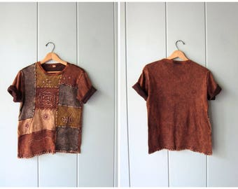 90s Hippie Top Cropped Brown Yellow Pigment Dyed Stitchwork Patched Embroidered Shirt Basic 1990s Cotton TShirt Vintage Womens Large