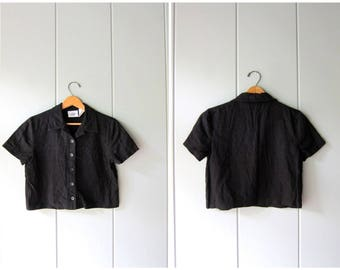 Natural Linen Rayon Crop Top Cropped Black Top Minimal Button Up Short Sleeve BOXY Tee 90s Modern Linen Basic Top Vintage Womens Small Med P