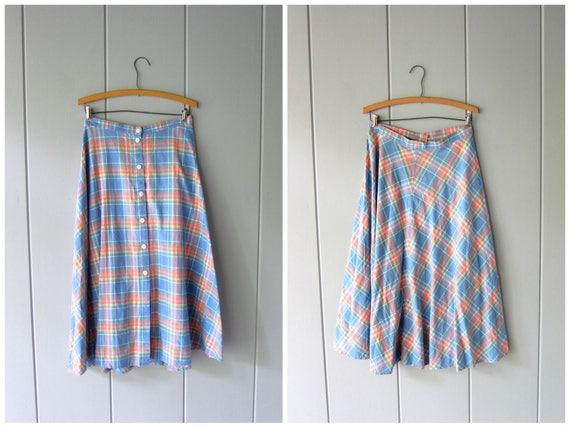 Vintage Plaid Cotton Skirt Basic Midi Skirt Button Up Skirt High Waist Skirt Lands End 90s Long Cotton Summer Skirt Blue Pink  Womens Large