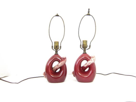 Dark Red side table lamps Vintage Pair Set of Mid Century Modern Desk Lamps Accents Bedroom Home Decor Ceramic Lamps Lighting