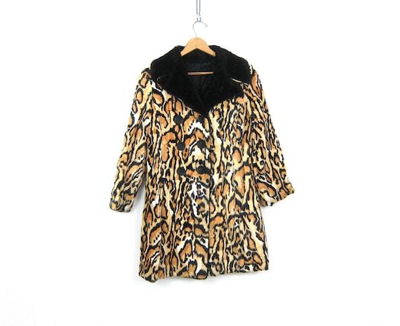 Feline Fur Coat 60s Faux Fur Coat VINTAGE Cheetah Leopard Kitty Animal Print Exotic Print Jacket Winter Fall Coat DES Womens Medium Large