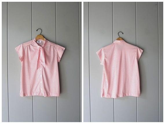 Ascot Tie 70s 80s Blouse POLKA DOT Secretary Blouse Short Cap Sleeve Top Red White Button Up Retro Shirt Tie Up Blouse Womens Medium