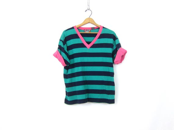 Hipster Tshirt Top Striped Blue & Turquoise Tshirt Simple Everyday VNeck Top Vintage Casual T Shirt Womens size Medium
