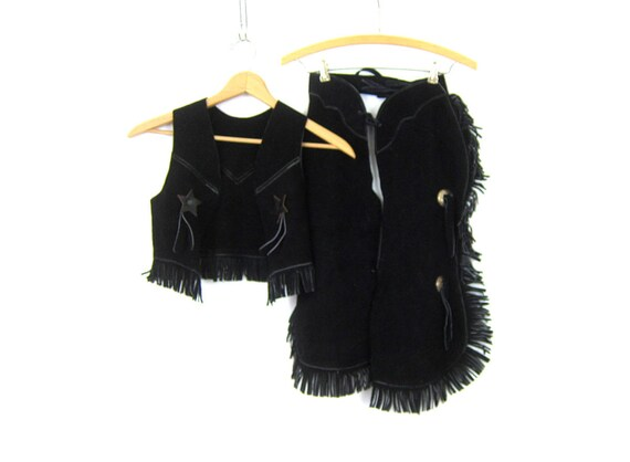 Vintage Children's Black Leather Chaps Vest Cowboy outfit Costume dress up Childs Western Suede Leather Fringe Boys Girls Outfit AS IS
