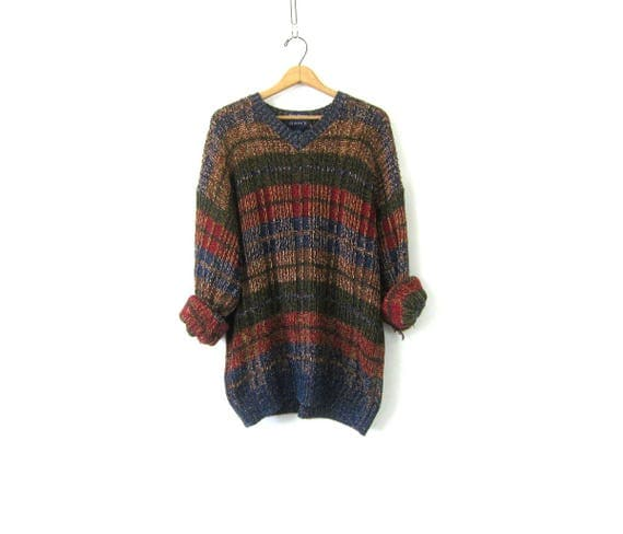 Long VNeck Sweater Oversized Pullover Sweater Slouchy Boyfriend Pullover Cotton Chunky Knit Sweater Red Blue harvest Sweater Mens Large
