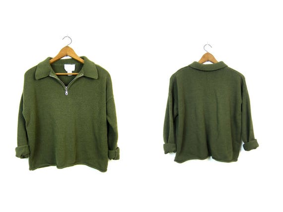 90s Green Sweater Boxy Zip Up Shirt Slouchy EXPRESS Pullover Vintage Soft Knit Sweater Basic Collared Sweater Top Womens Medium Large