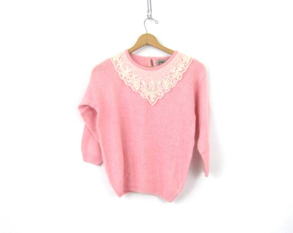 Pink Lolita Sweater with Lace Bib Silk Knit Sweater Top Thin Soft Knit Sweater Beaded Lace Front Vintage Sweater Womens Size Medium