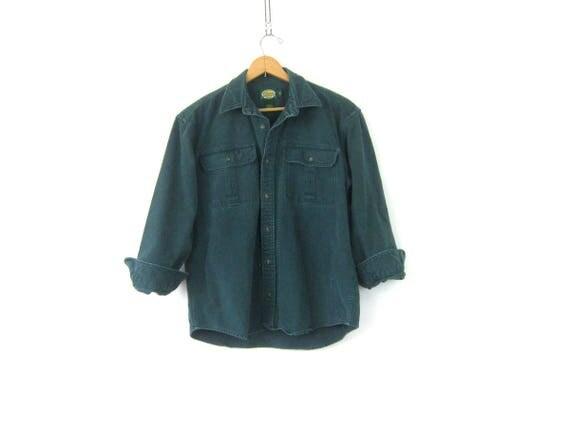 Rugged Soft Flannel Shirt Green Camping Shirt Vintage Boyfriend Button Down tomboy Farmer Oxford shirt Men's Size Medium