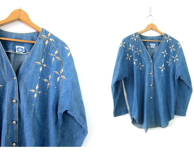 Oversized Studded Shirt denim jean Tunic Shirt Loose Button Down Top Bejeweled Beaded Floral Top Women's Size 1X