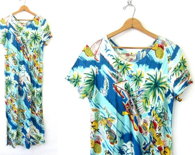 Long Blue Hawaiian Dress Vintage 90s maxi dress Surf Beach Print Graphic Resort Vacation Wear Rayon Lounge dress Women's Size XL