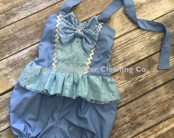 Disney Inspired Princess Cinderella Romper for Infants and Toddlers size newborn to size 6 girls Birthday