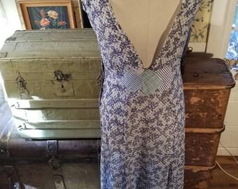 30s 1930s bias cut cotton gown slip dress blue sackfeed pinup antique vintage handmade