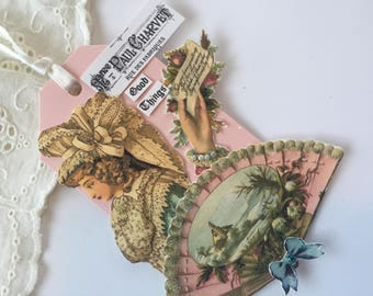 French Art Tag, Hand Stamped Tag, Assemblage Paper Tag, Victorian Art Hang Tag, Paper Doll Art