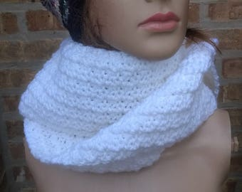Knit Scarf, Hand Knit Scarf, Winter Scarf in White, Long White Scarf, Texture Scarf, Mens Scarf, Womens Scarf, Crocheted Scarf