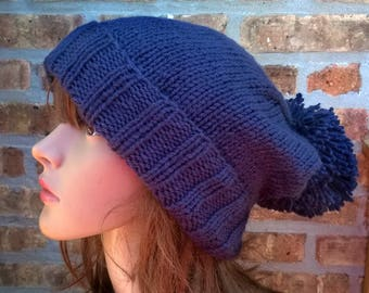 Knit Hat, Hand Knit Hat, PomPom Hat in Blue, Winter Hat, Womens Hat, Knit Accessories, Womens Knit Hat, Blue Knit Hat, Slouchy Hat