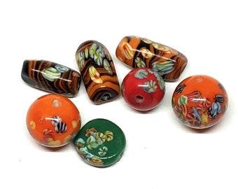 Vintage Venetian Millefiori Assorted Glass Beads