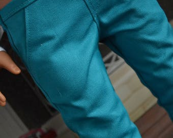18 inch Doll Clothes - Turquoise Chinos - Trouser Pants - Teal Aqua Blue - for BOY or GIRL - fit American Girl