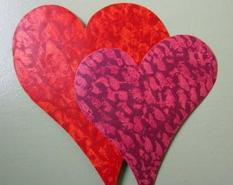 Metal Wall Sculpture Heart Duo Art Recycled Metal Valentines Anniversary Wall Decor Couples Love Plum Mauve Red Orange 15 x 15