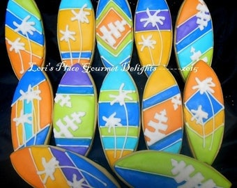 Surfboard Cookies - Surfboard Cookie Favors - Decorated Cookies - 1 Dozen