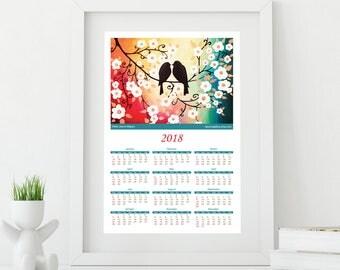 Wall Calendar 2018, Birds Calendar Wall Art, Trees Calendar, Nature Inspired, Monthly Calendar, Coworker Gift