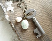 Skeleton Key Necklace. Gemstone Necklace. Antique Key Necklace. Pearl, Peruvian Opal Stone Necklace. Artisan Gemstone Jewelry. Boho Gift.