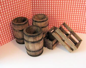 Dollhouse barrels, Crates, Farm, Pub, , Barrel set, Dark oak , bar, pub barrels, farm barrels, miniature barrels.,twelfth scale