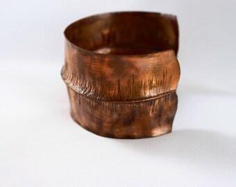 Copper Cuff Bracelet Wide Copper Foldformed Bracelet Cuff Hammered Copper Cuff Rustic Copper Cuff Bracelet Copper Bracelet Hammered Cuff