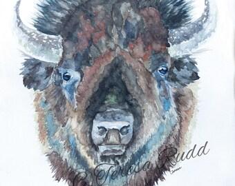 Buffalo Watercolor Instant Digital Download Print Room Decor Gift Cowboy Wild Wild West Bison