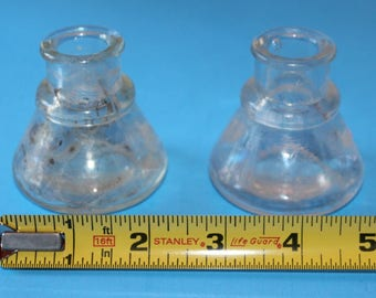 Vintage Glass Inkwell Bottles,, Late 1800's