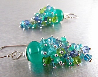 25 OFF Green Onyx and Apatite, Peridot, and Quartz Gemstone Cluster With Sterling Silver Dangle Earrings