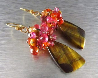 25 OFF Tigers Eye and Gemstone Cluster Dangle Gold Earrings